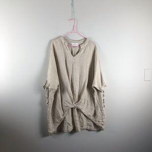 Tops - Belle France   linen gathered front blouse